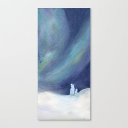 Polar bears and boreal dawn Canvas Print