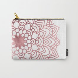 Elegant faux rose gold floral mandala Carry-All Pouch