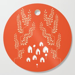 Line Vine Village in Red, Line Art Community Cutting Board