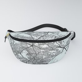 Plymouth, England, White, City, Map Fanny Pack