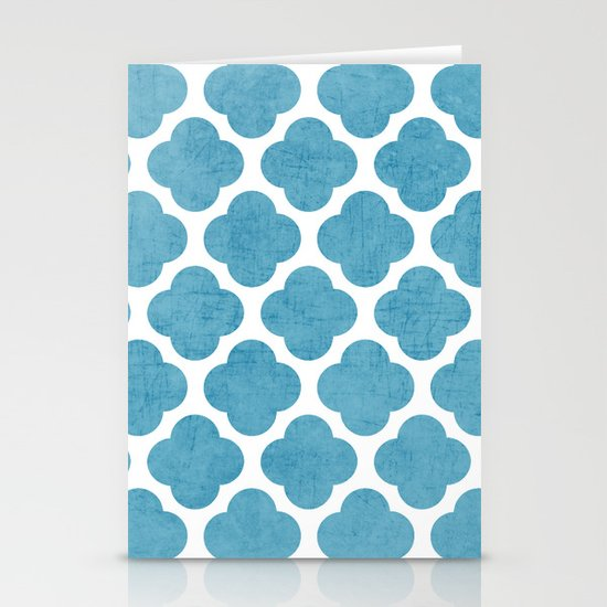 blue folk clover Stationery Cards