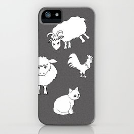 The Little Farm Animals, white on spotted grey iPhone Case