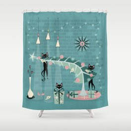 Retro Naughty Kitty Christmas Shower Curtain
