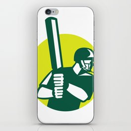 Cricket Batsman Batting Icon Retro iPhone Skin