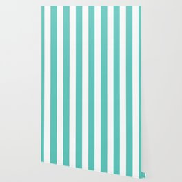 Bayside - solid color - white vertical lines pattern Wallpaper