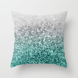 Silver Teal Ocean Glitter Glam #1 #shiny #decor #art #society6 Throw Pillow