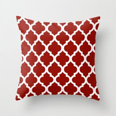 Moroccan Red Brown Throw Pillow
