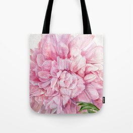 Pink Peony Floral Watercolor Detailed Botanical Garden Flower Realism Tote Bag
