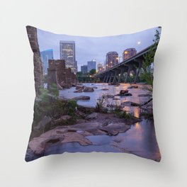 Moody Richmond Cityscape From The James River Throw Pillow