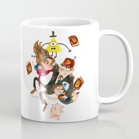 gravity falls Mugs featuring Gravity Falls Hug by Super Group Hugs