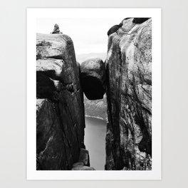 Nordic print, black white wall art, Amazing fjord, Norway cliffs, kjeragbolten, holiday Art Print