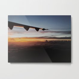 Airplane Sunset Metal Print