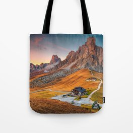 Majestic Sunset and Alpine Mountain Pass Rural Landscape Photograph Tote Bag