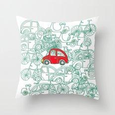 Little Red Car Throw Pillow