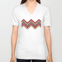 chevron V-neck T-shirts featuring CHEVRON  by Veylow