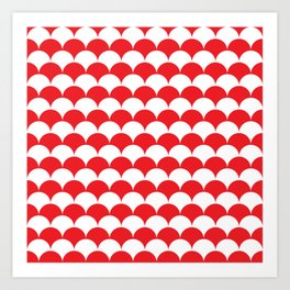 Red Clamshell Pattern Art Print