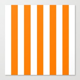 Amber (SAE/ECE) orange - solid color - white vertical lines pattern Canvas Print