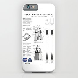 NASA SpaceX Crew Dragon Spacecraft & Falcon 9 Rocket Blueprint in High Resolution (white) iPhone Case