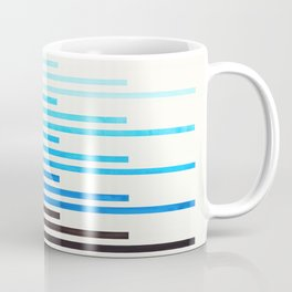 Cerulean Blue Minimalist Abstract Mid Century Modern Staggered Thin Stripes Watercolor Painting Coffee Mug