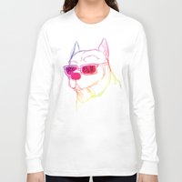 pitbull Long Sleeve T-shirts featuring Rainbow Pitbull by Kristen Hodge