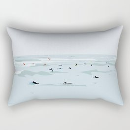 Tiny Surfers in Lima Illustrated Rectangular Pillow