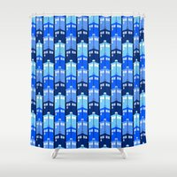 tardis Shower Curtains featuring Tardis by Casual Glitz