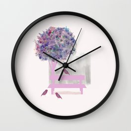 Park bench tree and birds Wall Clock