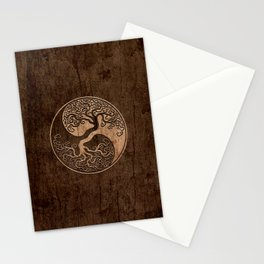 Rough Wood Grain Effect Tree of Life Yin Yang Stationery Cards
