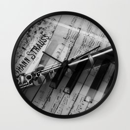 clarinet and piano - black and white Wall Clock