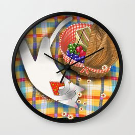 Cat Going for a Picnic series 1 Wall Clock