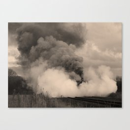 Rood Ashton Hall in clouds of steam - sepia Canvas Print