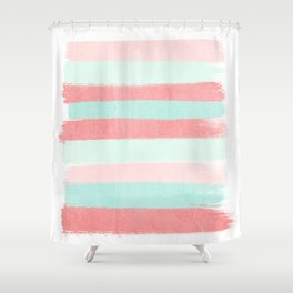 Painterly Stripes abstract trendy colors gender neutral seaside coral tropical minimal Shower Curtain