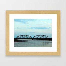 Train Bridge at Dusk Framed Art Print