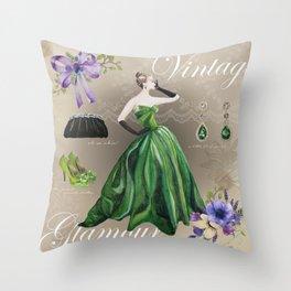 Vintage Glamour Throw Pillow