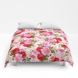 Vintage pink elegant roses floral watercolor tropical flamingo Comforters