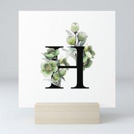 Letter 'H' Helleborus Flower Typography Mini Art Print