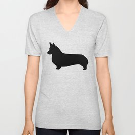 Corgi black and white welsh corgi silhouette dog breed custom dog patterns Unisex V-Neck