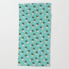 Cute Cactus Turquoise Pattern Beach Towel