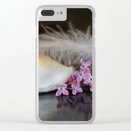 Still life with flowers, shell and feather Clear iPhone Case