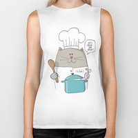 chef Biker Tanks featuring Chef cat, chef hat, ZWD009S6 by ZeeWillDraw