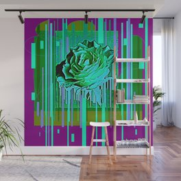 Green-Purple Fantasy Green Rose Abstract Wall Mural
