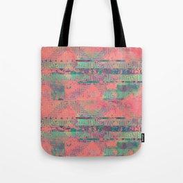 Abstract Coral and Aqua Tribal Tote Bag