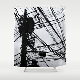 Tokyo wires Shower Curtain