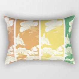 Japanese Birds & Flowers Panel Art earth tones 4 Rectangular Pillow