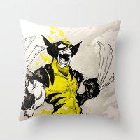 berserk Throw Pillows featuring Wolverine - Berserker by RISE Arts