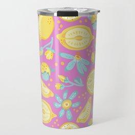 Lemon Pattern Pink Travel Mug