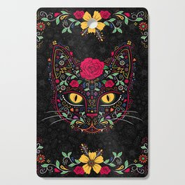 Day of the Dead Kitty Cat Sugar Skull Cutting Board