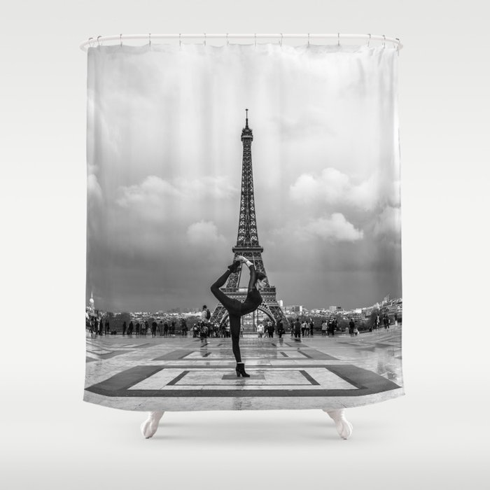 Paris Yoga Pose In Front Of The Eiffel Tower Shower Curtain By Neilsnape
