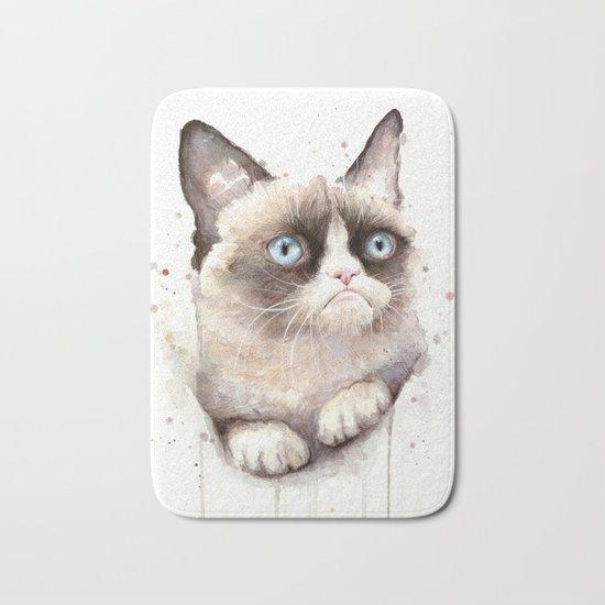 Grumpy Watercolor Cat Animals Meme Geek Art Bath Mat