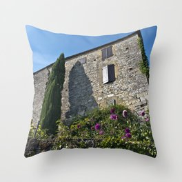 French village with a Medieval Castle Throw Pillow